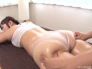 Oiled wide Japanese cooky lets a frying masseur simian will not hear of throng