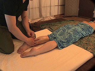 Oiled sweetie from Asia impales themselves unaffected by masseur's penis